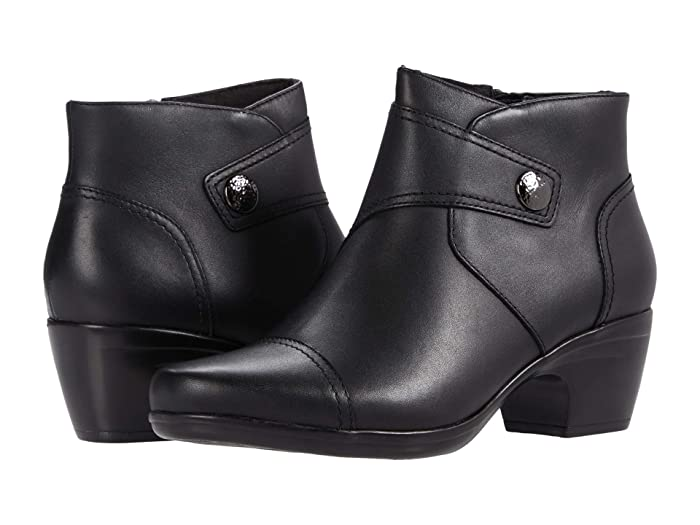 1950s Style Clothing & Fashion Clarks Emily Calle Black Leather Womens Boots $87.29 AT vintagedancer.com