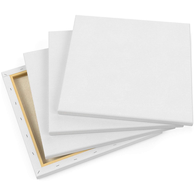 Arteza Lienzo para pintar cuadros | 30,5x30,5 cm | Pack de 8 | 100% algodón | Lienzos en blanco para óleo, acrílicos y acuarelas | para artistas profesionales, aficionados y principiantes: Amazon.es: Hogar