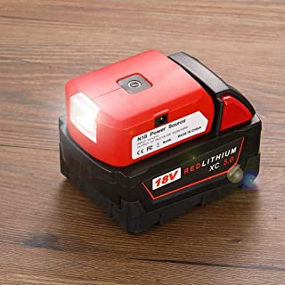 Battery Adapter for Milwaukee 18V Battery Adaptor with USB C Charger & DC Port & Work Light- Power Source Charger for Milw...
