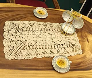 Janef Beige Handmade Crochet Cotton Table Runner Lace Doilies Doily Rectangle Dresser Scarves,16 by 24 Inches.