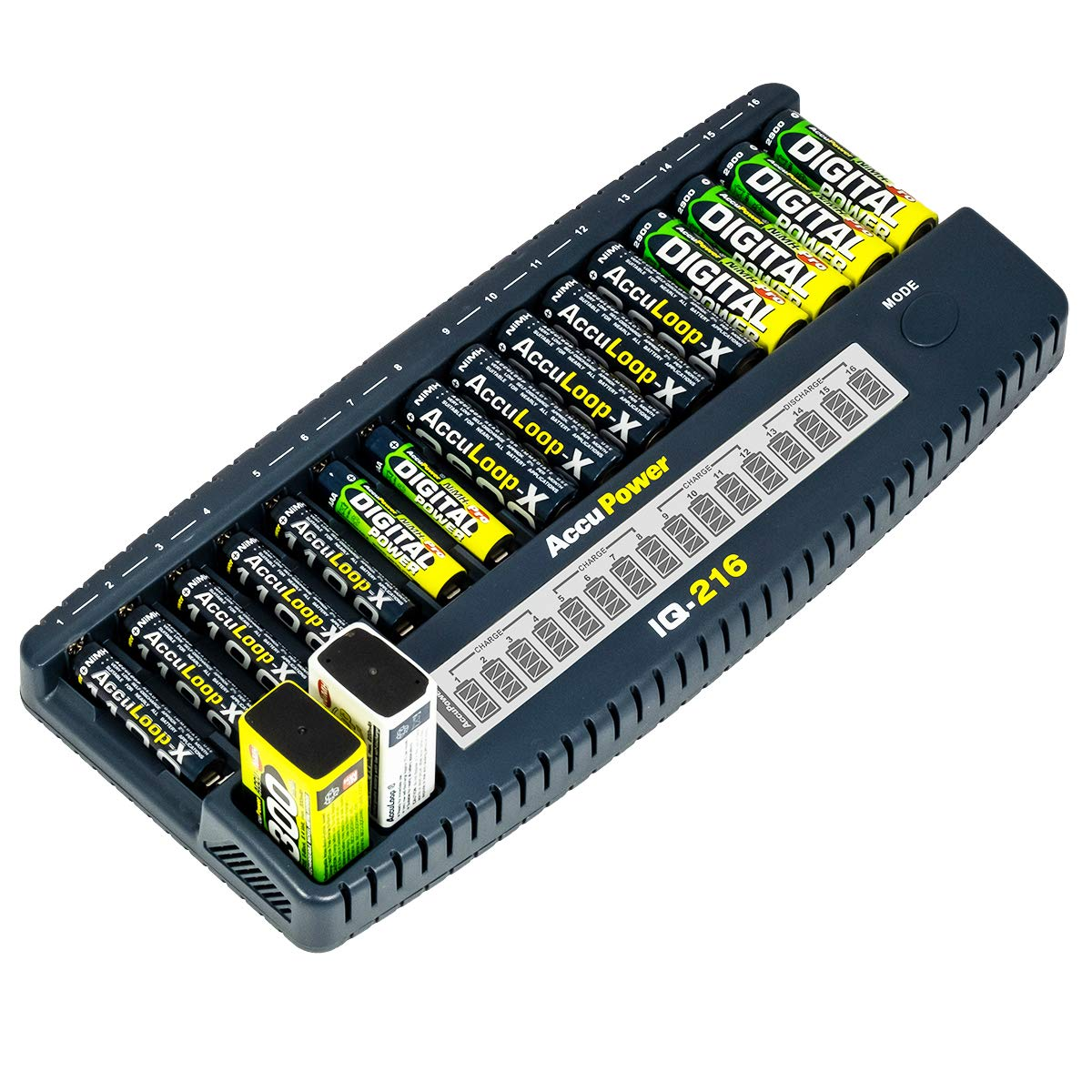 AccuPower IQ216 NiMH NiCd 16 Slot AA AAA 9V Battery Charger with LCD Display