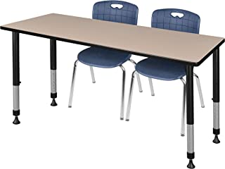 Regency MT7230BEAPBK40NV Kee Height Adjustable Classroom Table Set with Two 18