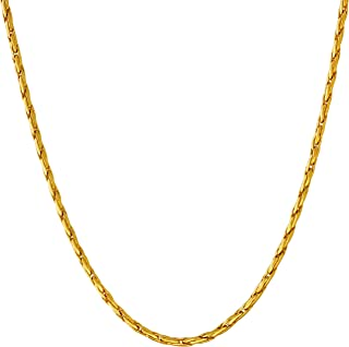 Lifetime Jewelry Gold Necklace for Women & Men [ 2mm Twister Weave Chain ] 20X More Real 24k Plating Than Other Pendant Necklaces - Dainty but Durable with Lifetime Replacement Guarantee 16-30 inch