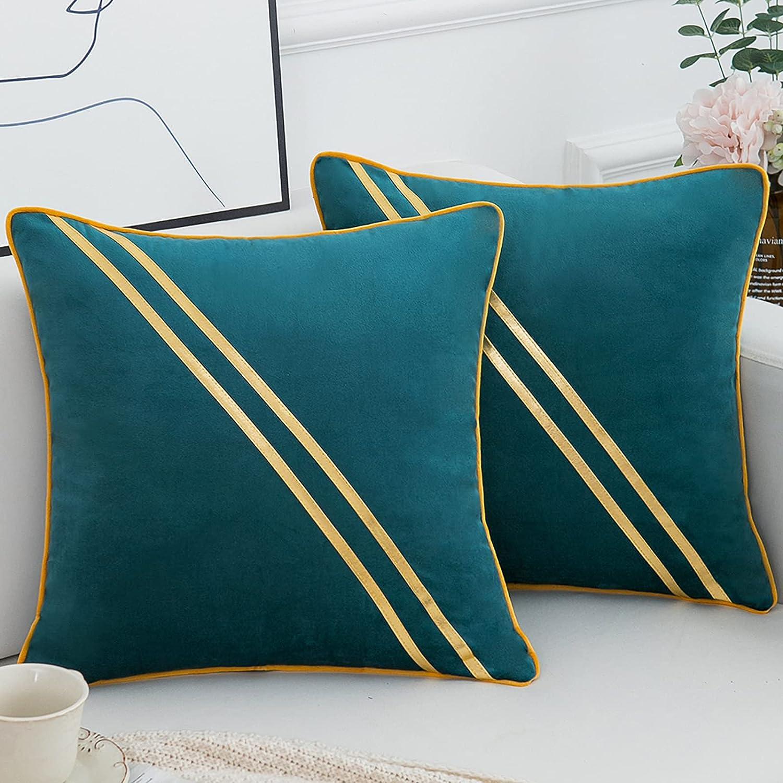 Fundas Cojines Sofa Funda de Almohada Cuadrado para Sofá Cama Decoración para Hogar Azul Pavo Empalme con Dorado Cuero Rayas 45x45cm, Juego de 2