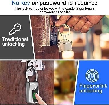 Fingerprint Lock,Smart keyless Waterproof Fingerprint Padlock Ideal for Gym, Door, Luggage, Suitcase, Backpack, Bike, Office