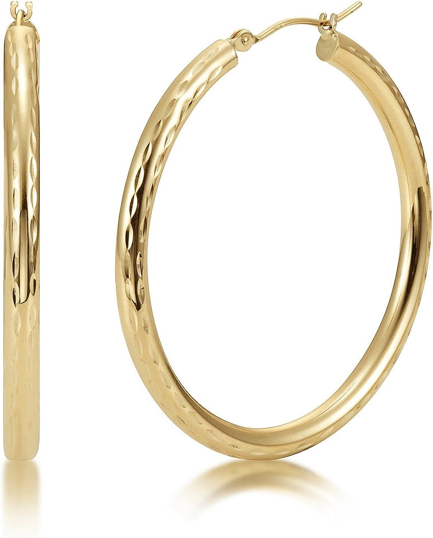 Miami Mall 14K 3mm Tube Hoop Diamond Cut Ranking TOP14 Full Earrings