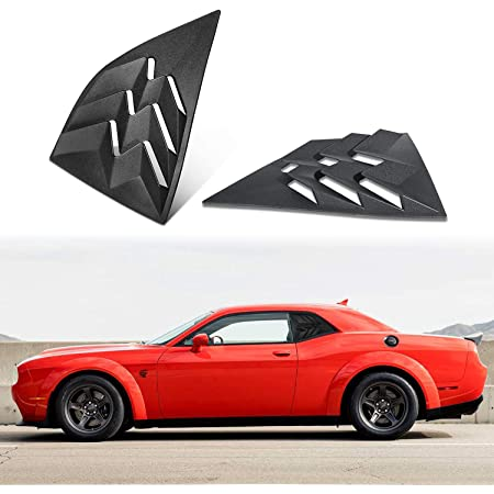 IKON MOTORSPORTS Window Scoops Compatible With 2008-2020 Dodge Challenger XE V2 Style Black PP Window Vents Guards