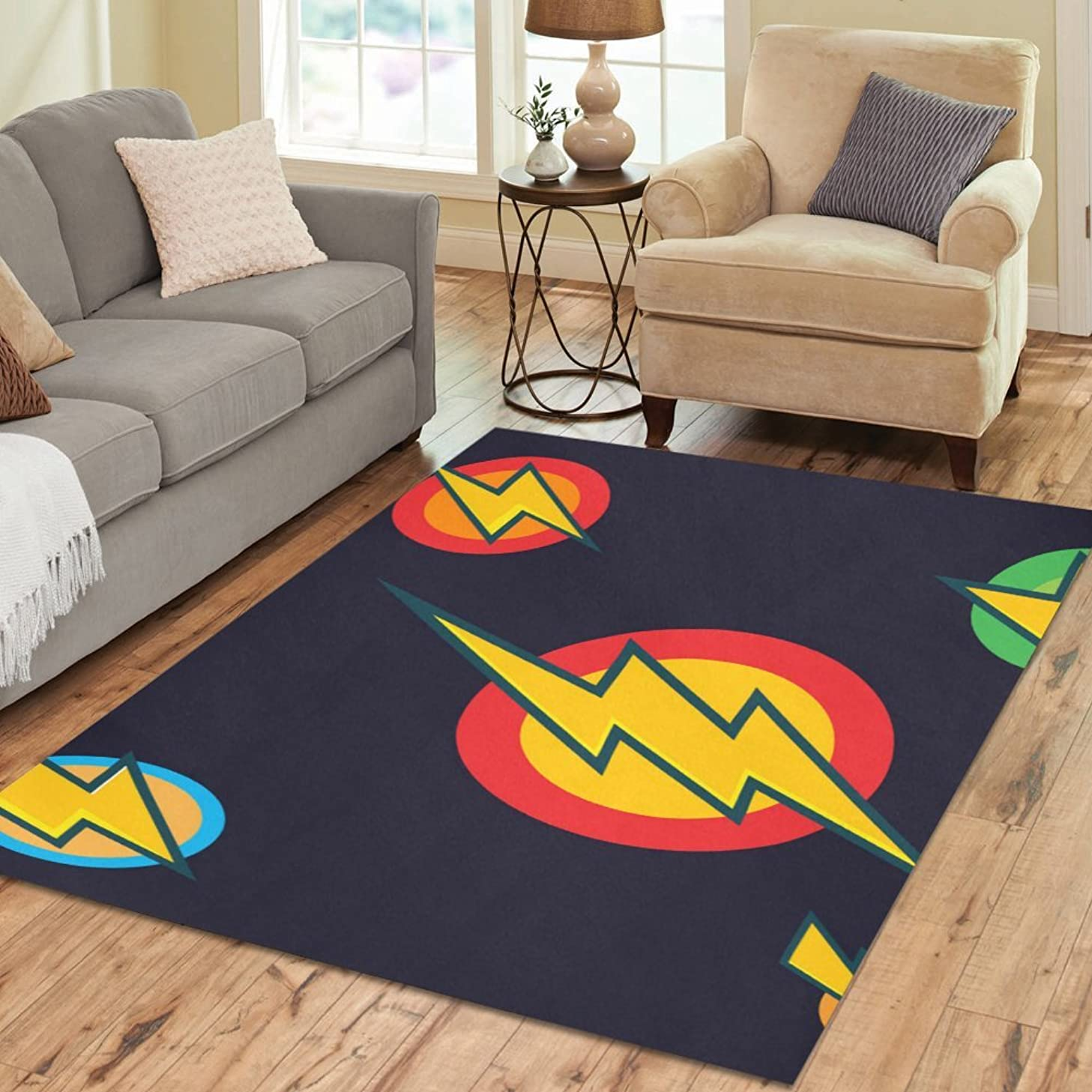 InterestPrint Floor Rugs Mat Custom Flash Area Rugs Modern Carpet for Home Dining Room Living Room Decoration Size 7'x5'