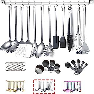 Stainless Steel Cooking Utensils Set,Kyraton 37 Pieces Kitchen Utensils Set, Kitchen Tool Gadgets Set with Utensil Holder ...