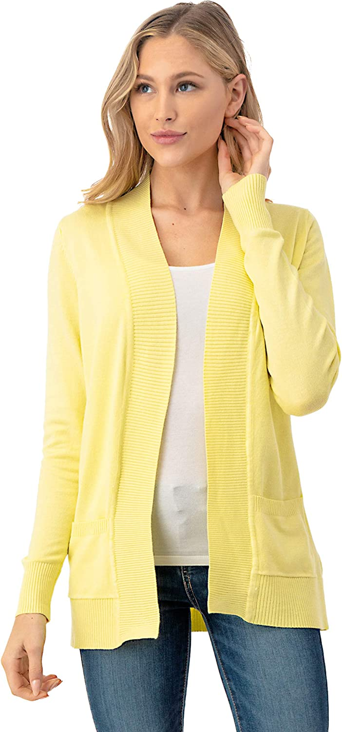 The Simpli Women's Open Front Long Sleeve Cardigan Sweater with Pockets