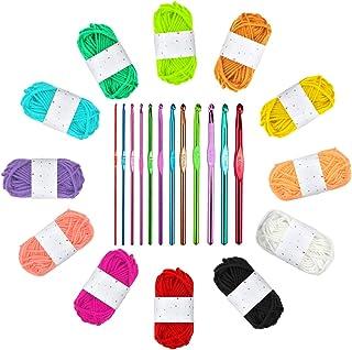 Ledeak 12 Pelotes de Multicolores en Polyester Tissage à La Main avec 2.0-8.0mm Crochets en Aluminium Tricot Outils pour D...