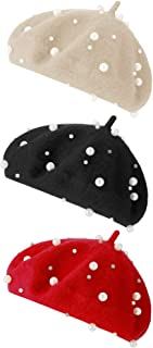 3 Pieces Beret Hat French Style Beanie Cap Solid Color Winter Hat for Women and Girls Casual Use (Black, White, Navy Blue)