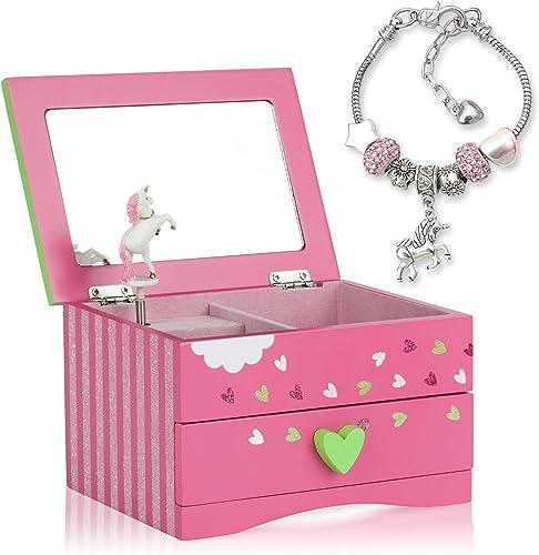 Amitié Lane Unicorn Jewellery Box For Girls PLUS Augmented Reality Experience (STEM Toy) - Unicorn Music Box With Pul...