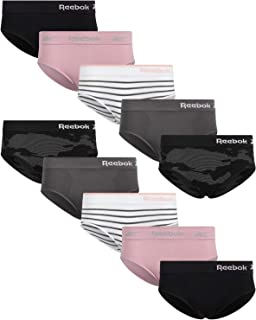 Reebok Womens Seamless Hipster Panties (10 Pack), Size Large, Black Camo/Charcoal/Black/Blush/White Stripes