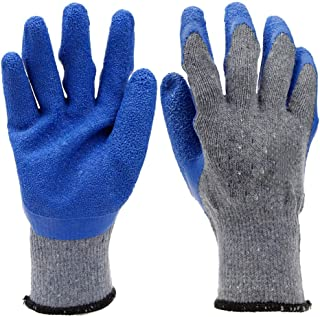 SUP-MANg Industrial Gloves Comfort Coated Breathable Semi-Latex Latex Wrinkles Brushed Gloves Knit Wrist Cuff (12 Pairs) (Color : E)