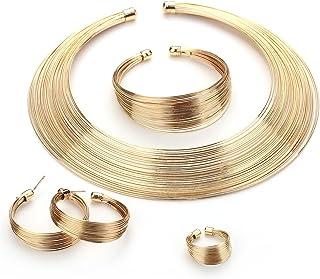 MOOCHI Gold Plated African Art Style Multiple Strands Choker Necklace Earrings Bracelet Ring Jewelry Set