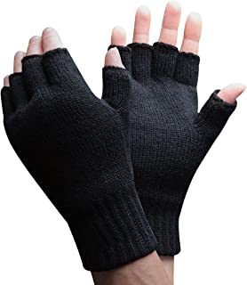Mens 3M Thinsulate 40 gram Thermal Insulated Black Knit Winter Fingerless Gloves