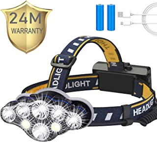 Headlamp,Tupwaid Rechargeable Led Head Lamp Waterproof 18000 Lumen Brightest 8 LED USB Headlight Flashlight with Red Light...
