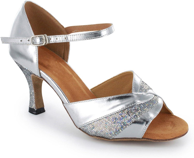 TDA Women's Buckle Glitter Classic High Heel Latin Dance shoes