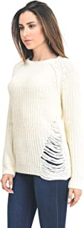Design by Olivia Women's Criss Cross Braided Back Solid Cable Knit Pullover Sweater Top - Off-white - Small