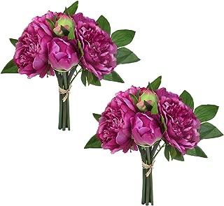 Cloris Art Vintage Artificial Peony Silk Flowers Bouquet for Home Wedding Decoration Floral Arrangements (16