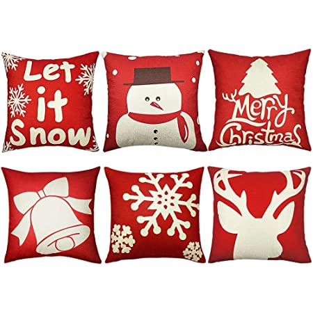 Newx 6pcs Christmas Pillow Covers 18x18 Christmas Decorations Christmas Throw Pillow Cover Decorative Cushion Pillowcase Shams Home Décor Xmas Gifts Home Kitchen