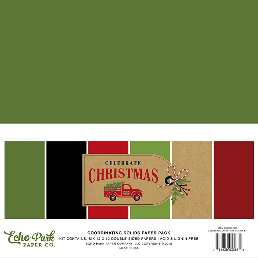 Echo Park Paper Company CCH159015 Celebrate Christmas Solids Kit Paper, 12-x-12-Inch, Red/Green/Tan/Burlap/Black
