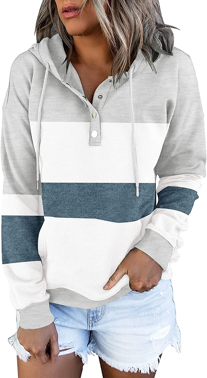 ETCYY Women's Color Block Hoodies Tops Long Sleeve Casual Drawstring Button Down Pullover Sweatshirt with Pocket