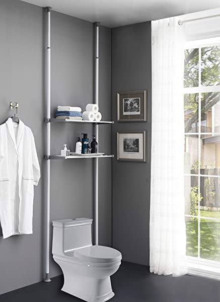 ALLZONE Bathroom Organizer Over The Toilet Storage Rack Over The Washer Shelf For Laundry Room No Drilling Extremely Easy To Assemble Height And Width Adjustable With Ample Space