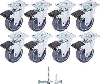 (8 stuks) zwenkwielen Ø 75 mm zachte beweging rubberen wielen met metalen montageplaten, wielen, schroeven inbegrepen (8, ...