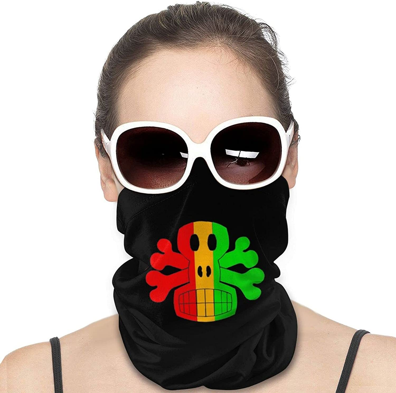 Rasta Crossbones Round Neck Gaiter Bandnas Face Cover Uv Protection Prevent bask in Ice Scarf Headbands Perfect for Motorcycle Cycling Running Festival Raves Outdoors
