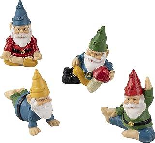 Juvale Miniature Gnome Set - 4-Piece Mini Yoga Gnome Figurines, Decorative Accessories for Fairy Garden, 4 Small Assorted ...