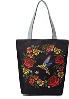 Women's Top-Handle Bags,Cotton Canvas Tropical Ethnic Style Flower Bird Tote Bag Ecofriendly Geocery Shopping Bags