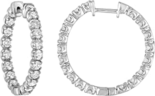 Vir Jewels 3 cttw Certified 14K White Gold Diamond Inside Out Hoop Earrings I1-I2