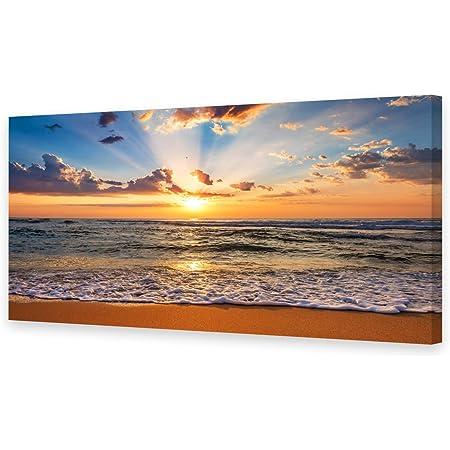 Sunrise Seascape Beach Sunset Orange CANVAS WALL ART Print Picture
