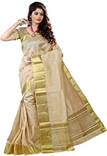 Maxis Women's Tusser Art Silk Blended Saree with Blouse Piece (Cream)