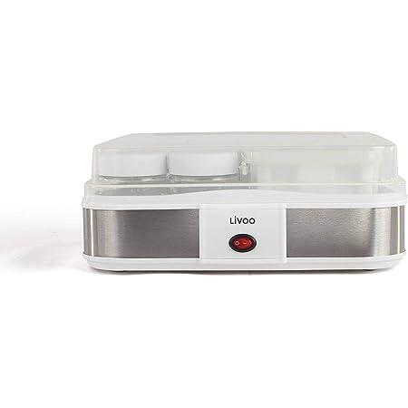 LIVOO DOP156 Yaourtière Faits Maison, Blanc   210 ML X 12 Pots yaourts, 1,2L de Fromage Frais, 1.2 liters, Gris