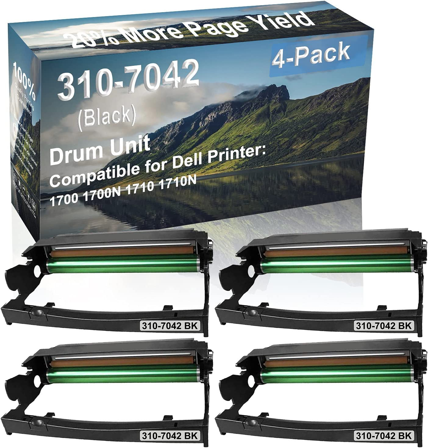 4-Pack Compatible Drum Unit (Black) Replacement for Dell 310-7042 Drum Kit use for Dell 1700 1700N 1710 1710N Printer