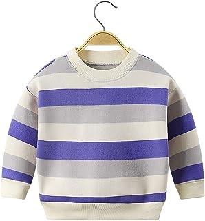 Girls/Boys 3-7 Year Pullover Striped Sweatshirt Purple Sweater Kids Vintage Fleece Top 4-5 Years Purple Grey