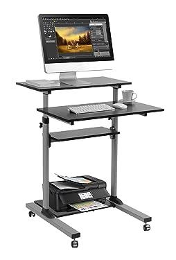 Mobile Standing Desk - TechOrbits Rolling Workstation Cart - Stand Up Media Podium Mobile Desk - Height Adjustable Presentation Computer Cart