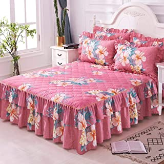 YURASIKU Thick Quilted Bedspread Set Floral Printed Ruffled Bed Skirt for Twin Queen Size Ultra Soft Polyester Bed Set with Pillowcase