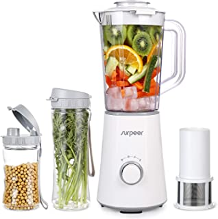 SURPEER Personal Blender,Smoothie Blender Single Serve for Juice Shakes and Smoothies with 350W(26,000RMP),Electric Power Mixer Fruit and Vegetable Single Serve,with 3 BPA Portable Travel Bottle and