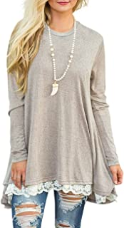Women's Lace Long Sleeve Scoop Neck Tunic Tops Blouse Shirts for Leggings