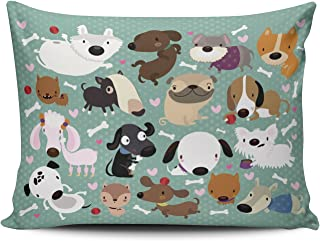 Hoooottle Custom Luxury Funny Colorful Cartoon Dog Pet Puppy Collection Standard Pillowcase Rectangle Zippered One Side Printed 20x26 Inches Throw Pillow Case Cushion Cover