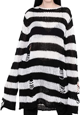 Women's Loose Knitted Ripped Striped Casual Long Sleeve Knit Pullovers Sweaters Jumpers Tops