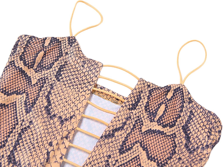 Women´s Sexy Snakeskin Dress Spaghetti Strap Front Follow Out Bodycon Mini Club Dress Female Short Dress