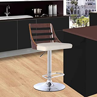 Armen Living Storm Barstool in Cream Faux Leather, Walnut Wood and Chrome Finish