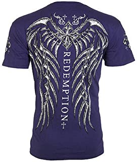 Affliction Archaic Mens T-Shirt Spine Wings Tattoo Navy Biker Gym MMA UFC