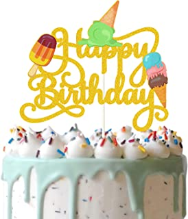 Gold Glitter Ice Cream Happy Birthday Cake Topper, Ice Cream and Popsicle Cake Decor, Summer Birthday Party Supplies, Summ...