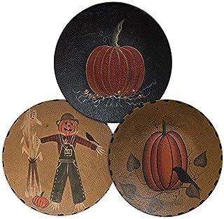 cwi هدايا مرسومة باليد scarecrow & Pumpkin للزينة من الخشب المقوى في إطار من خشب البلوط البسيط بلمسة نهائية بلون المستردة ...